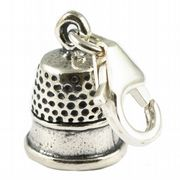 Thimble Sterling Silver Clip On Charm - With Clasp Sewing & Needlework